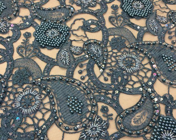 Tela de encaje turquesa 3D de lujo, hecho a mano azul, verde, granos de flores 3D, cordón francés, Perla bordado de encaje, K00436