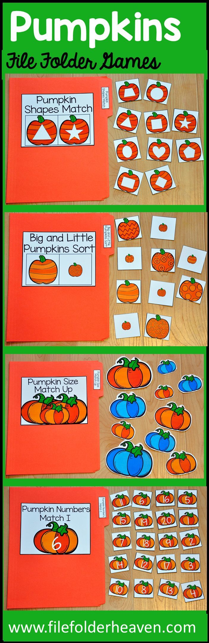 This Pumpkins File Folder Games Mini-Bundle is fall themed and  focuses on basic matching and sorting skills.    This set includes eight unique file folder games with three bonus games for differentiation (for a total of 11 games!) These activities  focus on basic skills, such as matching picture to picture, matching shapes, matching numbers, matching letters, matching by size, sorting by size, sorting by color, and sorting by likeness and differences.