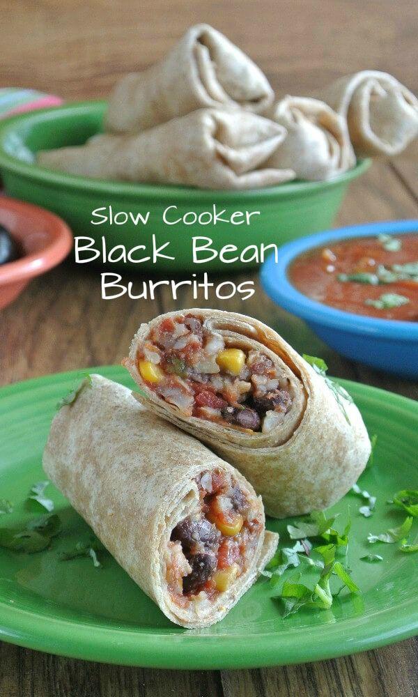 Slow cooker black beans, Black bean burrito and Bean burritos on ...