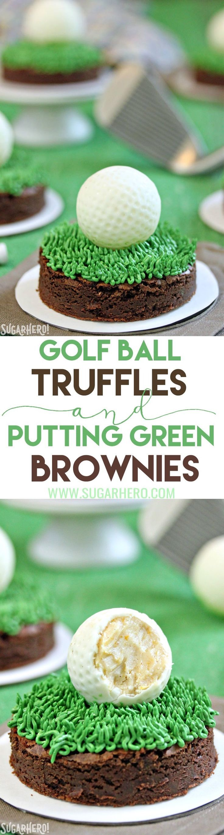 Golf Ball Truffles and Putting Green Brownies - white chocolate rum truffles that look just like golf balls! Put them on putting green brownies to make the cutest dessert ever. | From SugarHero.com
