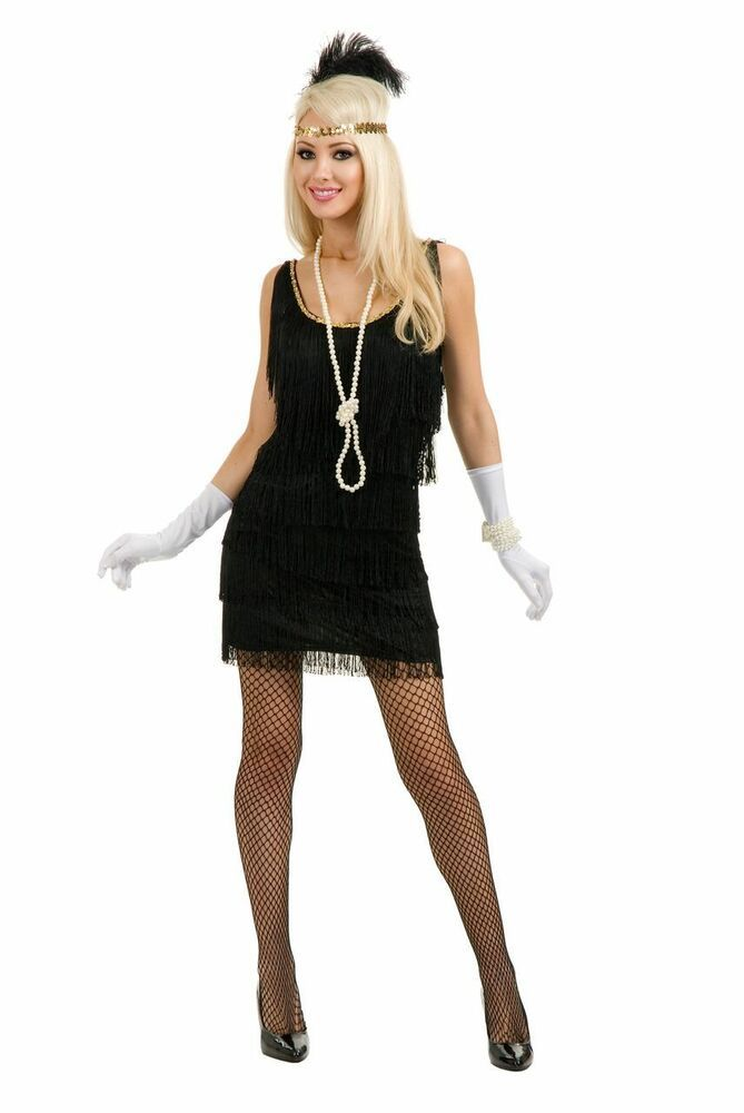 1920s Fancy Dress Flapper Headband Long Gloves Lady Elegant Gangster Mob 30s