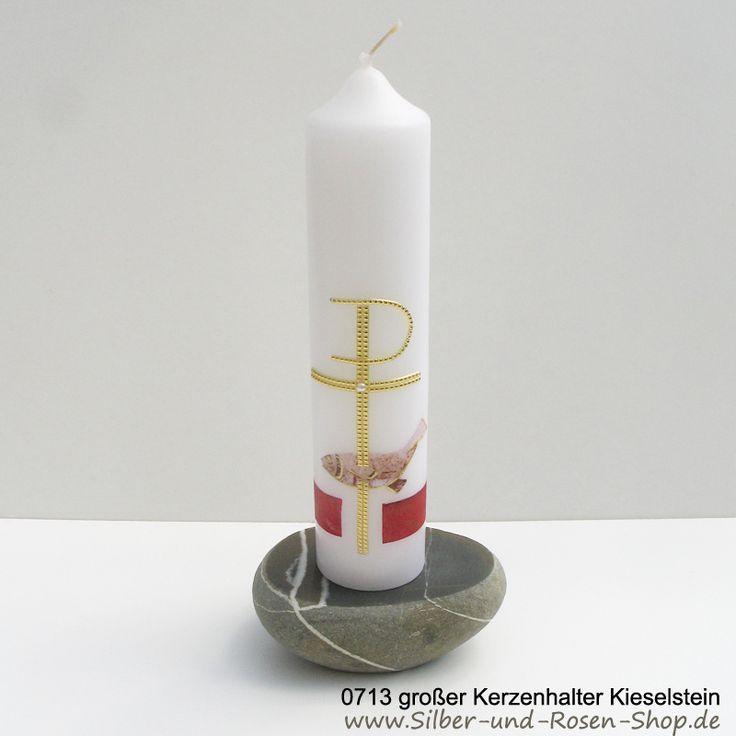 Kerzenhalter aus massivem Flusskiesel