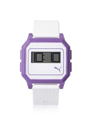 47% OFF PUMA Unisex PU910951007 Flat Screen White/Purple Digital Rubber Watch