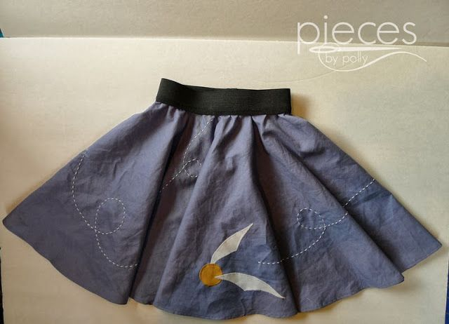 Pieces by Polly: Ginny Weasley's Golden Snitch Skirt - DIY Halloween Costume with Free Template