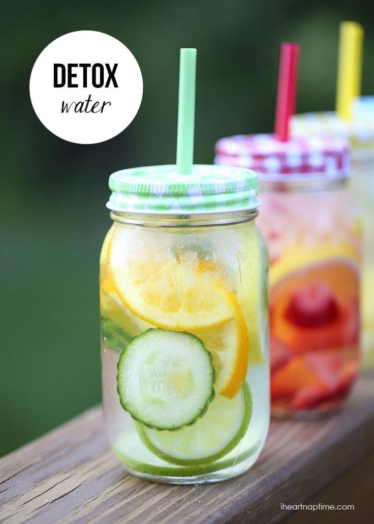 Citrus detox water: lemon, lime, orange, cucumber, 2 mint leaves