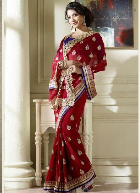 Impressive #Maroon #Saree With #Embroidery Work
