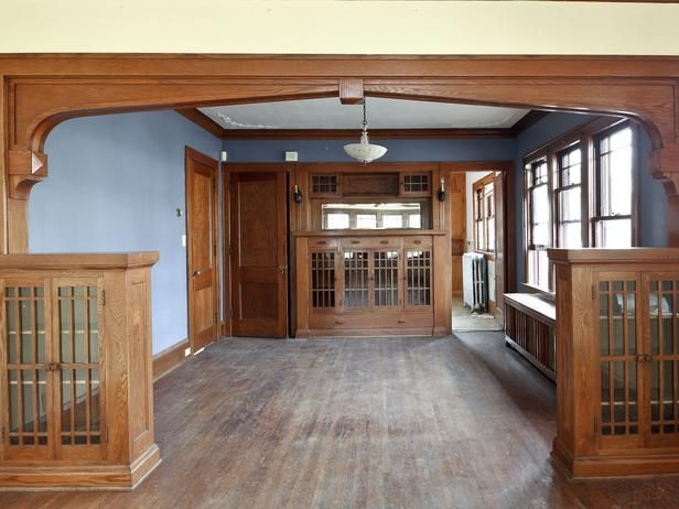Drab Dining Room - 1920s Bungalow Restoration on Rehab Addict on HGTV. Love those built ins!