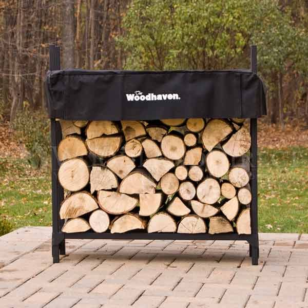 Keep firewood dry on a steel rack with a clever cover that moves down ...
