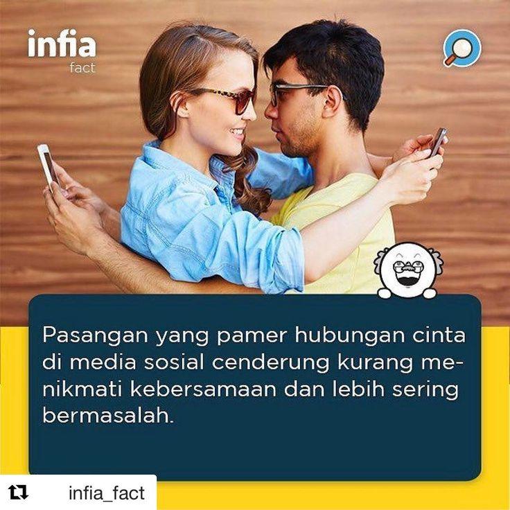 Bener ga ni? :D  #Repost @infia_fact ・・・ Menurut Lifehack.org, ada beberapa alasan mengapa pasangan yang sering pamer hubungan di media sosial itu kurang bahagia. . Pertama, pasangan yang kecanduan media sosial tak bisa benar-benar menikmati arti kebersamaan yang sebenarnya, sehingga tak terlalu dekat dari hati ke hati. . Kedua, mereka juga cenderung pamer kemesraan untuk menciptakan citra yang baik di mata orang lain bahwa hubungan mereka sempurna, padahal kenyataannya tak sesempurna itu…
