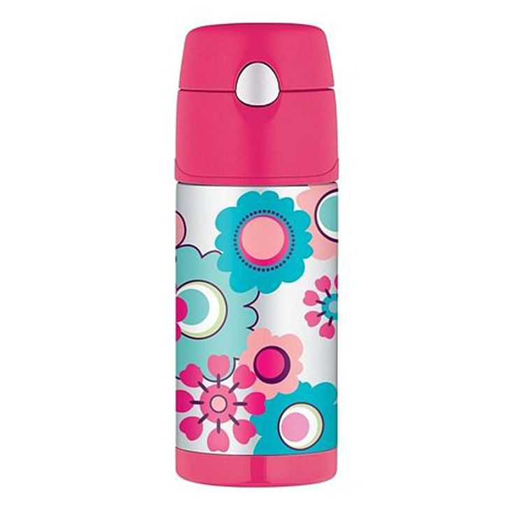 """Smart and stylish insulated stainless steel bottles from Thermos are a great way to keep drinks nice and cold for up to 12 hours.  This Funtainer bottle with the beautiful Flower design is perfect for keeping kids hydrated the healthy way."""