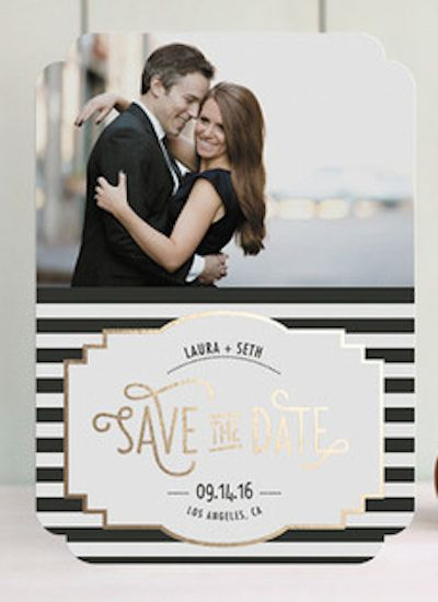pretty black white and gold save the date cards save the dates