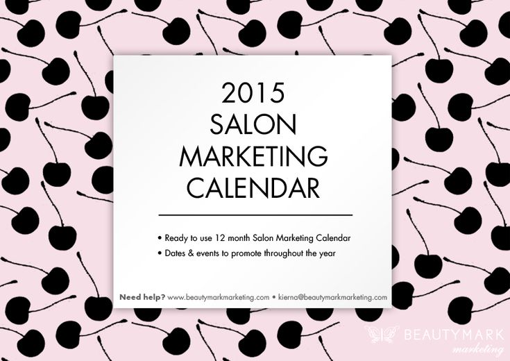 FREE 2015 Salon Marketing Calendar Lucky you! We've taken the time to create an editable 2015 marketing calendar for you – with events for this upcoming year plus the marketing channels options for each one. #salonmarketingcalendar