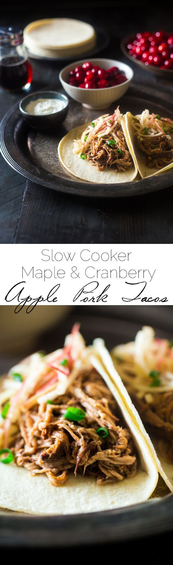 Gluten Free Cranberry Apple Chipotle Slow Cooker Pork Tenderloin Tacos - These healthy tacos are packed with spicy-sweet fall flavor and are an easy weeknight meal that the whole family will love! | |