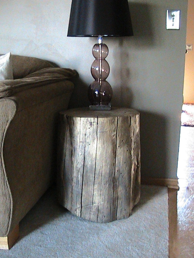 I made this side coffee table from a stump I found.