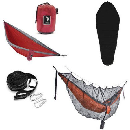 Tribe Provisions Hammock Camping Kit: Hammock, Tree Straps, Sleeping Bag and Mosquito Net, Red