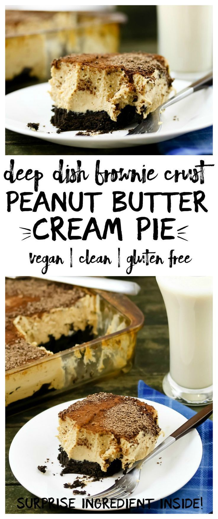 One of my favorite recipes! This thick, rich, peanut buttery deep dish peanut butter cream pie has a fudge brownie crust. Hard to believe this is vegan and gluten free, and even has a surprise healthy ingredient.