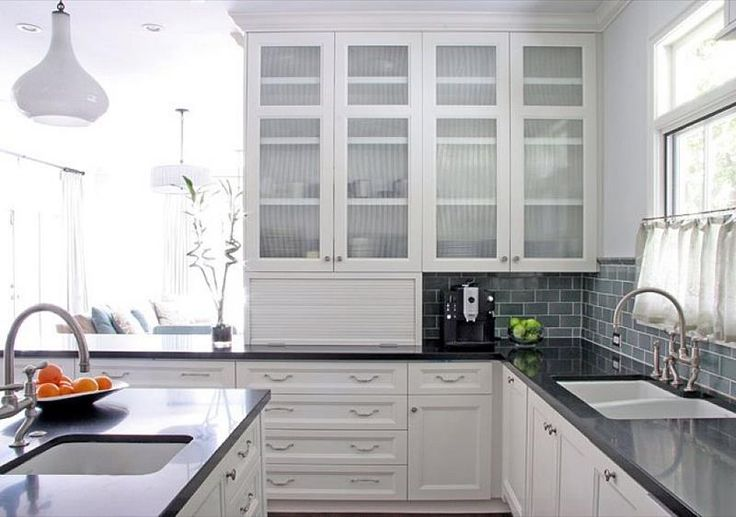 24 Pictures of Kitchens with Glass Cabinets