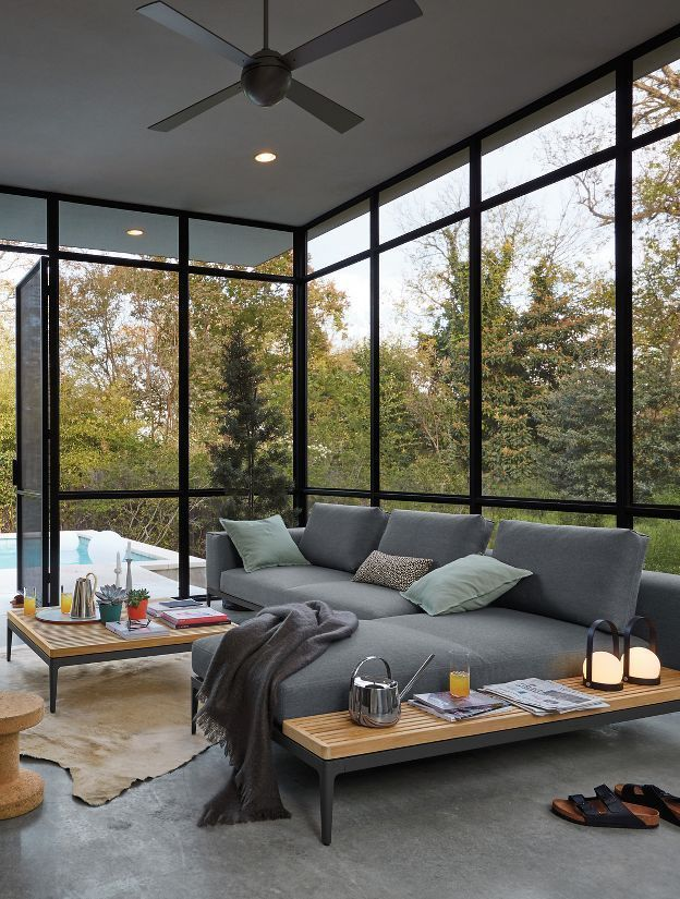 Grid Sofa With Chaise In 2020 With Images Modern House Design