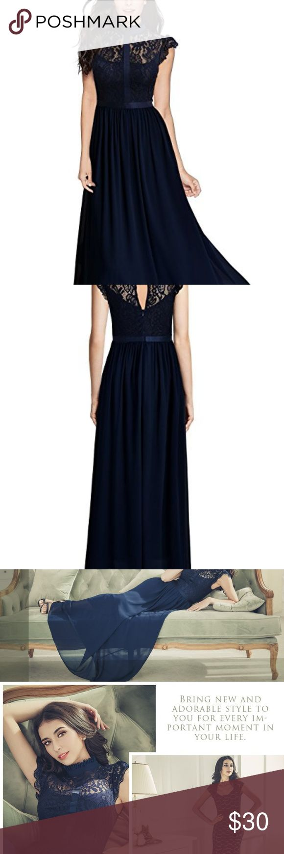 Women's Formal Floral Lace Cap Sleeve Evening Gown Gorgeous navy gown, worn once and in perfect condition. Received many compliments. Looks much higher quality than the original price indicates.  100% Polyester Elegant Half of high-collar,Cap Sleeve See-Through Lace Design,Contrast Different Fabric Vintage Formal style, Maxi Dress Hand Wash Only,Do Not Iron Suit for Wedding Party, Evening Club, Prom Long dress, suitable for tall people, hemming, or just folding over.  More pics of people…