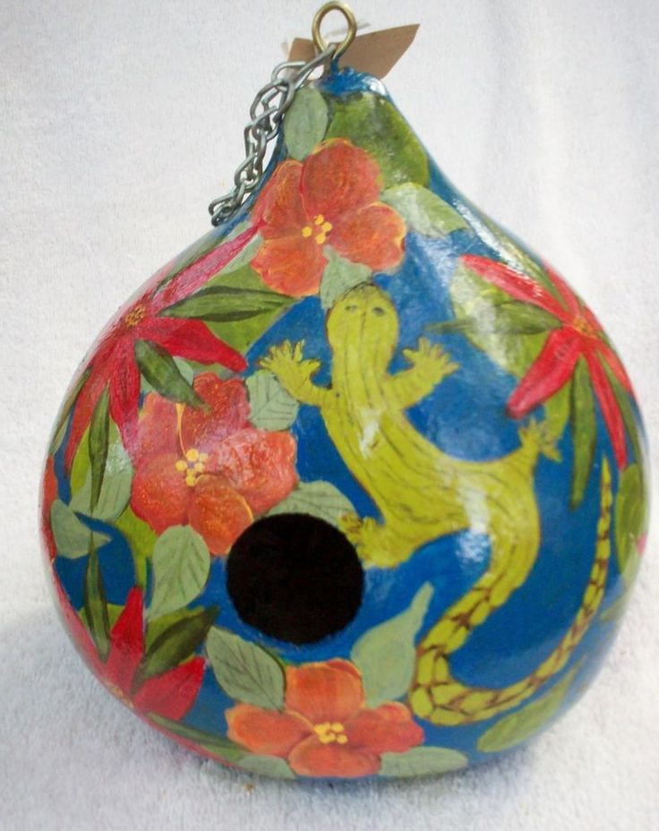 Lizard, Tropical flowers, Royal Hand. Painted gourd Birdhouse Christmas Gift