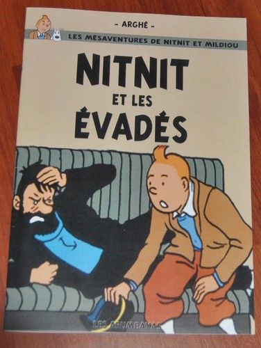 Tintin Nitnit ET LES Evades 30x20 Hommage Herge Parodie | eBay