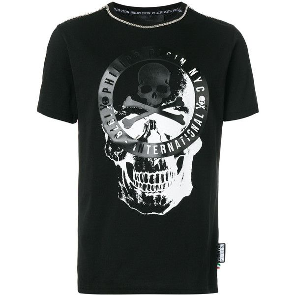 Philipp Plein skull print T-shirt (1.505 BRL) ❤ liked on Polyvore featuring men's fashion, men's clothing, men's shirts, men's t-shirts, black, men's cotton short sleeve shirts, mens cotton t shirts, philipp plein men's t shirt, mens tailored shirts and mens rock and roll shirts