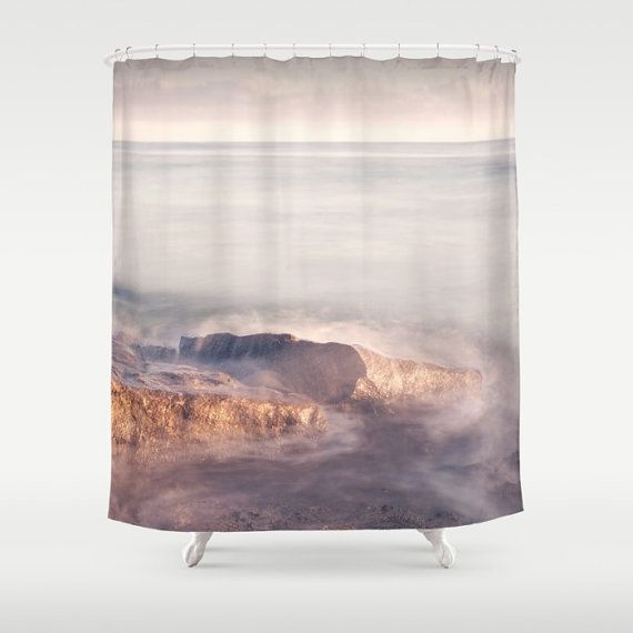 Pink shower curtain ocean shower curtain by SophieMakesFabrics
