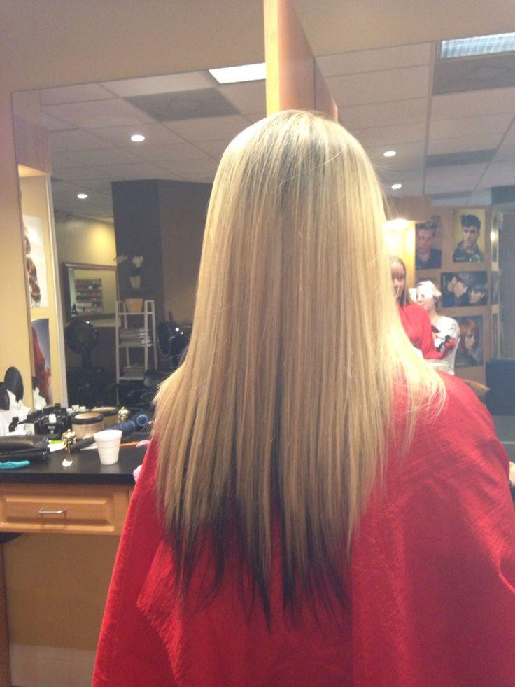 Heavy Blonde Highlights On Top And Darkest Brown