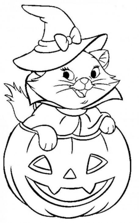 Cute Cat Coming Out Of Jack O Lantern In Halloween Coloring Pages
