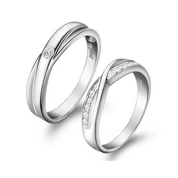 Engraved Platinum Plated Crystal Blooming Love Wedding Rings Couple