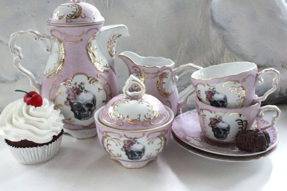 Cráneo de rosado y oro rosa novia / novio cráneo té taza y