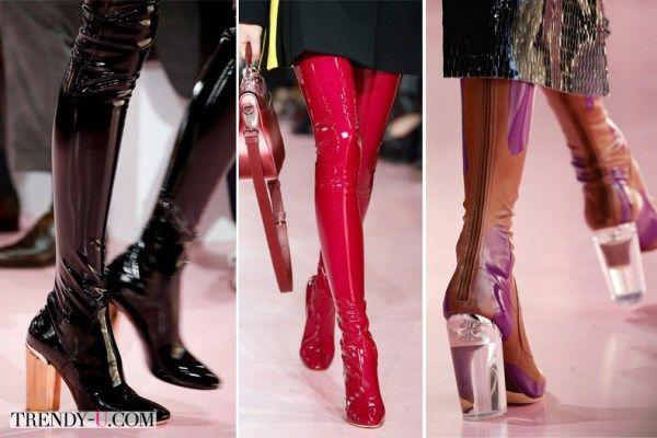 Лаковые и кожаные сапоги-чулки от Christian Dior во всей своей красе