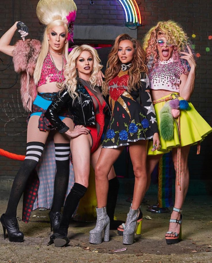 "Alaska Thunderfuck, Courtney Act, Jade Thirlwall & Willam @ Little Mix ""Power"" music video - photo by Magnus Hastings"