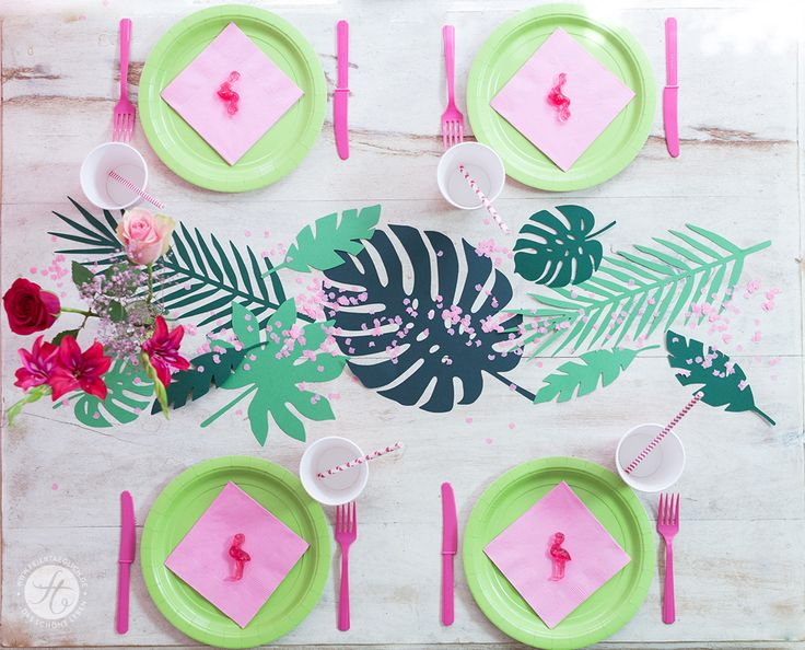 HappyMottoparty Flamingo, Tischdekoration