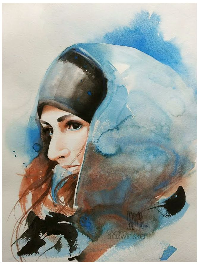 Watercolor/ Winter's Anna/ size; 45x32 cm/ QoR