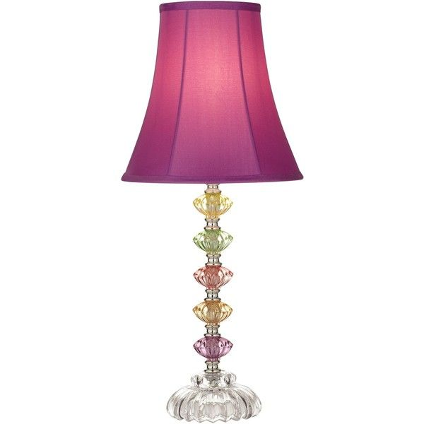 Superior A Cheery Table Lamp In Soft Colors Thatu0027s Complemented By An Elegant  Stacked Glass Design. A Deep Pink Lamp Shade Adds A Fun Touch.