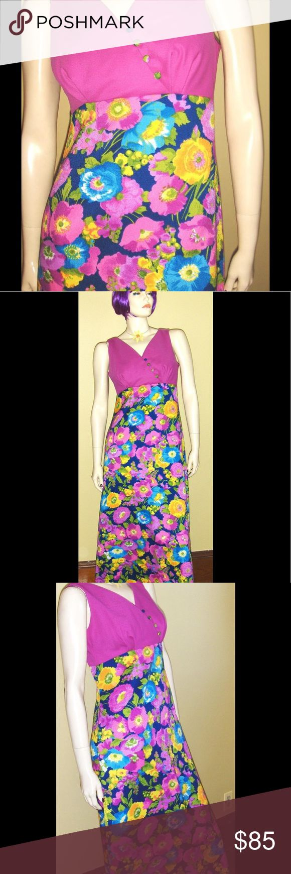 "VTG ALOHA MOD 60s LUDIS Hawaii Floral Maxi Dress! Vintage late 60s MOD Hawaiian floral maxi dress. V-Neck w/empire bodice & fabric covered buttons. Lined & shirred for shaping at Bust. Back zip. Full flairy maxi skirt with psychedelic flowers adds instant MOD appeal. Full sweep hem.  Size: 9/10  Bust: 34"" (or 36"" snug) Waist: 28-30""  Hips: 40"" Length: Approx. 55"" Label: LUDI'S WAIKIKI, HAWAII Material: Polyester  Color: Multi  Vintage condition: Excellent, perfect in every way. Dress appears…"