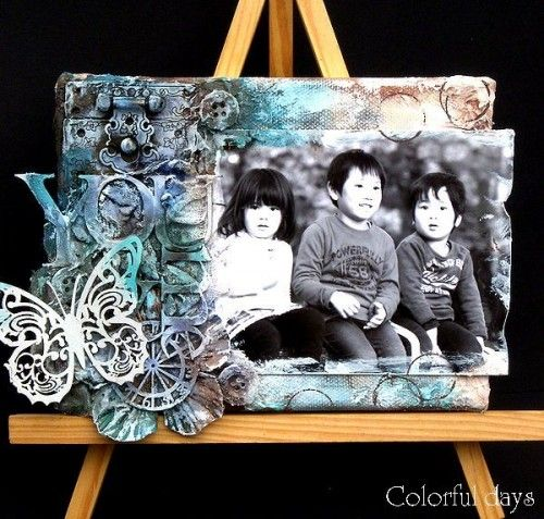Canvas, Texturepaste and Glimmermist | Tattered Angels