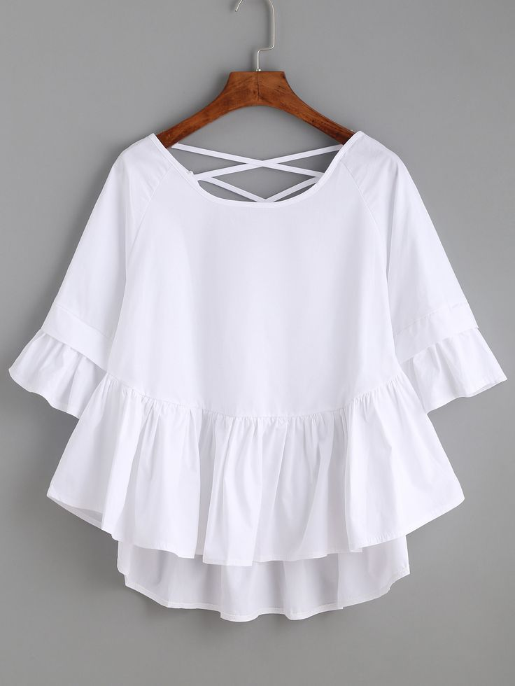 White Crisscross Back Ruffle Top — 0.00 € -----------------------color: White size: one-size