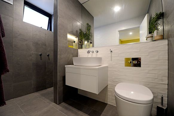 Best of 'The Block' Australia - Madi + Jarrod's guest bathroom. Fab mix of tiles; especially love the Moods White Feature Wall Tiles by Urban Edge