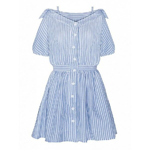 Choies Blue Stripe Off Shoulder Strappy Button Up High Waist Dress (110 BRL) ❤ liked on Polyvore featuring dresses, blue, blue button up dress, blue button down dress, high waist dress, strap dress and striped dress