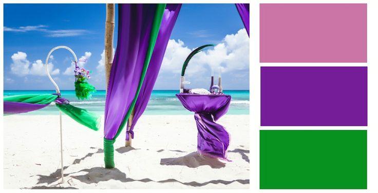 Фиолетово-зеленая палитра для оформления свадьбы в Доминикане.