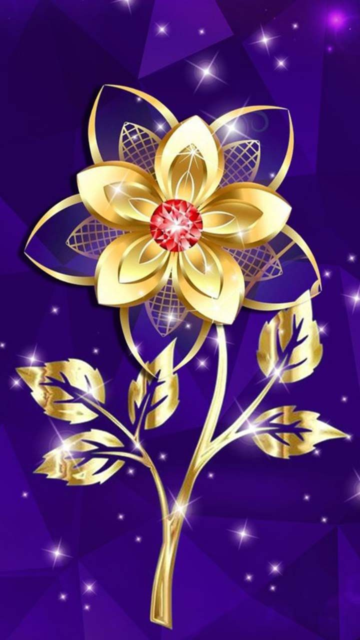 Golden flower  Red ruby gemstone with gold style  Purple background