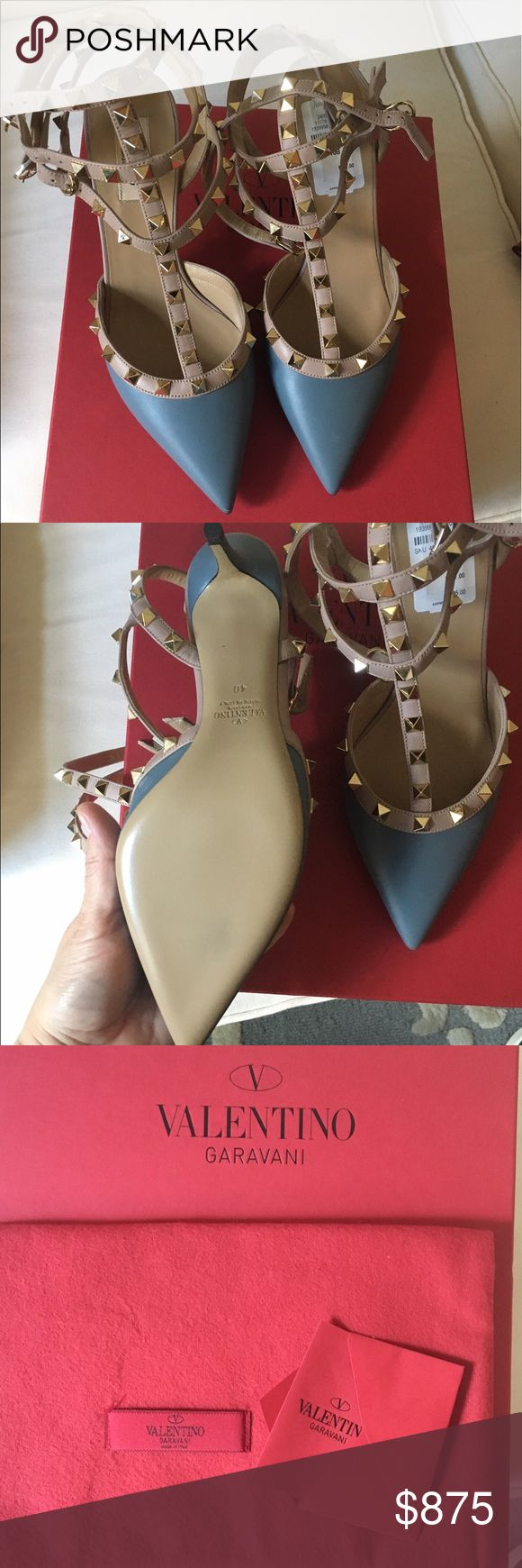 Valentino Grey Rockstud Pumps Sz.40 Brand New in Box. Purchased at Neiman Marcus Last Call. Gray/nude pink Valentino Rockstud pumps. Sz.40                                   As you can see in last pic the left shoe needs a stitch in the loop that connects the two lower straps. Right shoe is fine. Some flexibility in price. 🅿️🅿️ cheaper. Lowball offers will be ignored and user blocked. Valentino Garavani Shoes Heels