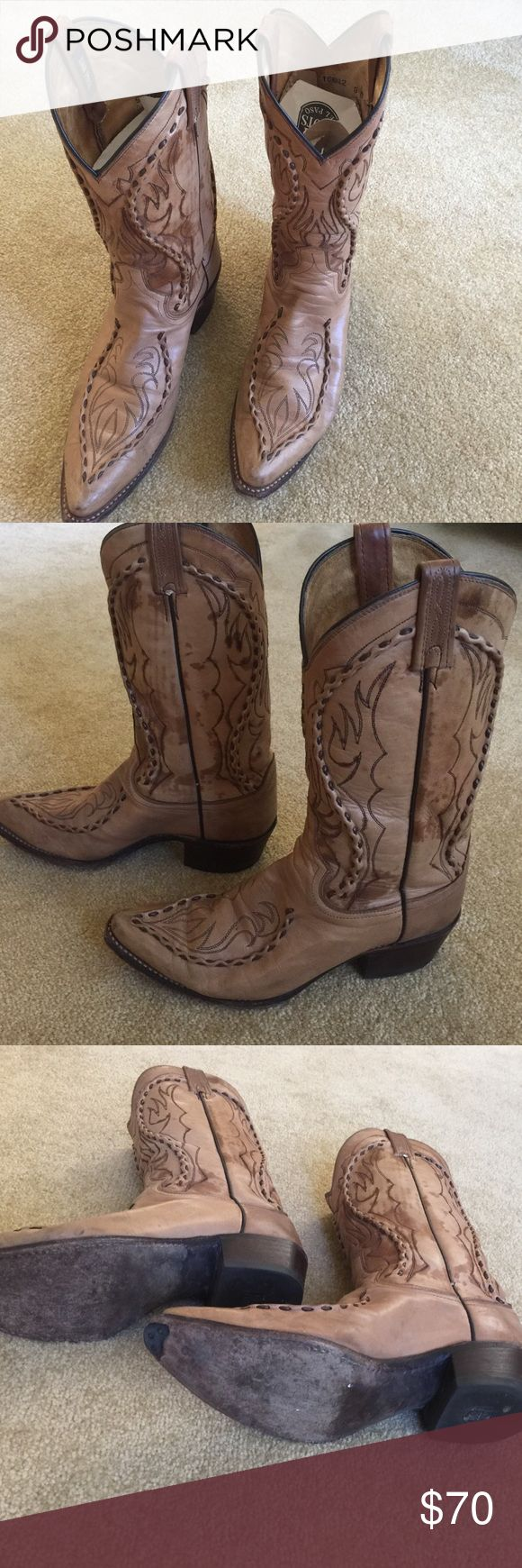 Dan Post men's western boots Genuine leather, vintage, Dan Post men's Western-style cowboy boots. Includes original box and boot shapers inside to help them hold their shape. Paid $207 many many years ago. For that special cowboy in your life! Dan Post Shoes