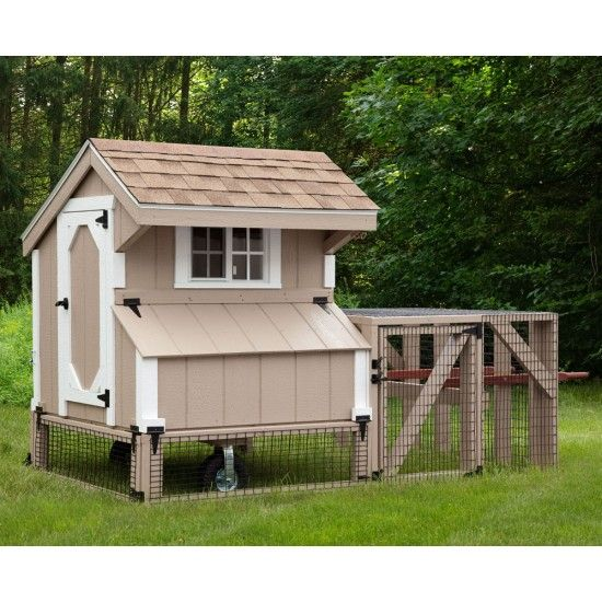 Amish 3w x 4l quaker chicken coop with run coops for Chicken coop with run for 6 chickens
