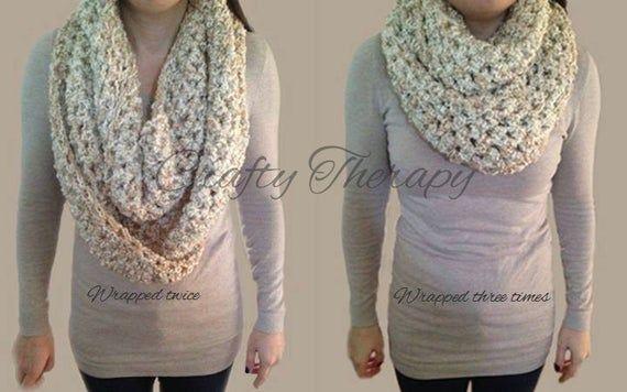 Häkeln Sie Infinity Schal – handgemachte klobige Schal – häkeln Sie Cowl – warme Wrap Schal – Schichtung Schal – L