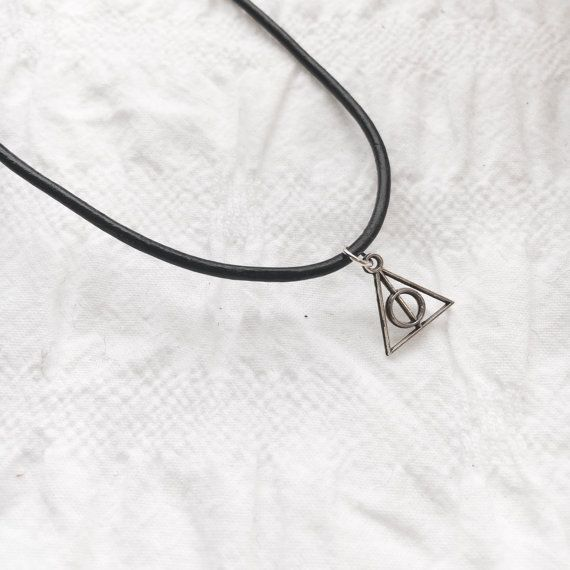Deathly hallows leather necklace tibetan silver by JunkboxCouture