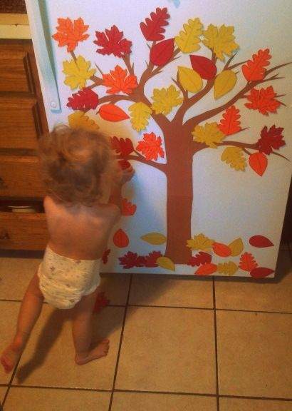 Paper tree with magnet leaves for kids in the fall. Write target words on the…
