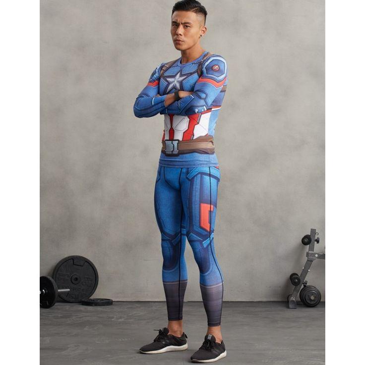Captain America Men's Leggings Compression Tights